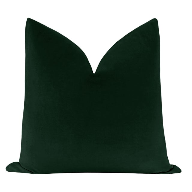 Pair of beautiful custom-made 100% cotton velvet pillows in Emerald. Meticulously handcrafted with serged interior seams,...