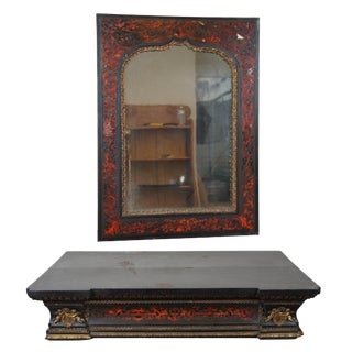 19th Century Antique Neoclassical Ebonized Tortoise Inlay Altar Stand & Mirror For Sale