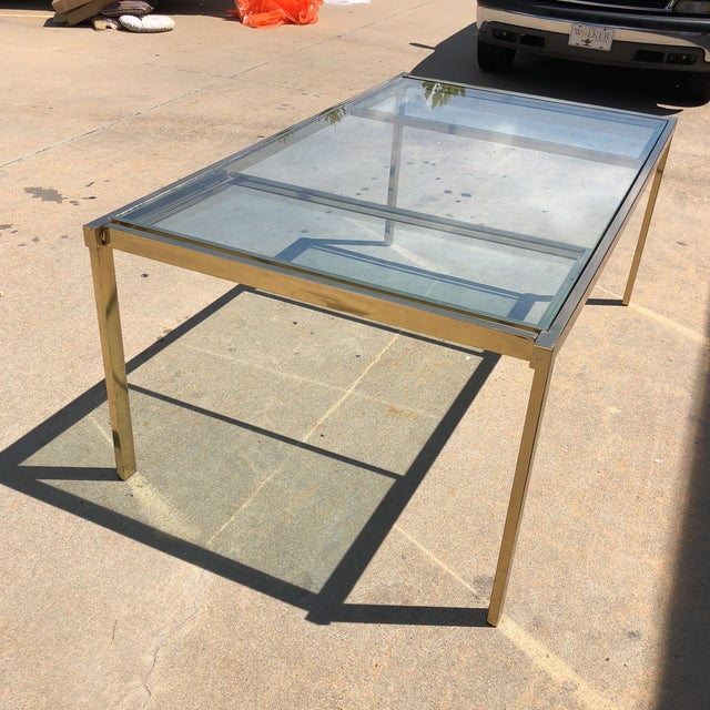 Pierre Cardin Style Folding Brass Glass Dining Table For Sale - Image 13 of 13
