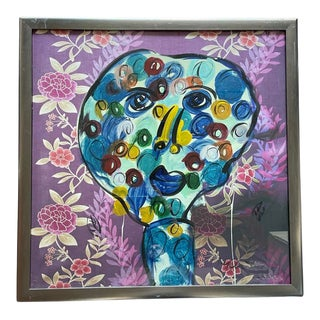 Late 20th Century Abstract Face Portrait Acrylic Painting by Peter Keil, Framed For Sale
