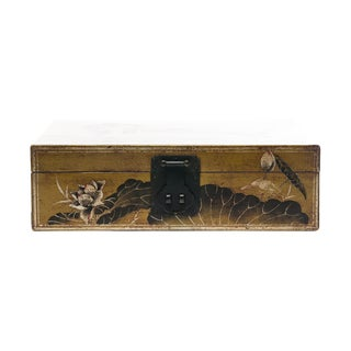 Lawrence & Scott Hand-Painted Lotus Scene Chartreuse Water Buffalo Leather Box For Sale