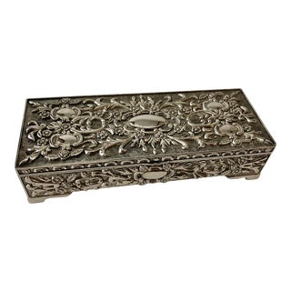 Vintage French Silver Jewelry Box For Sale