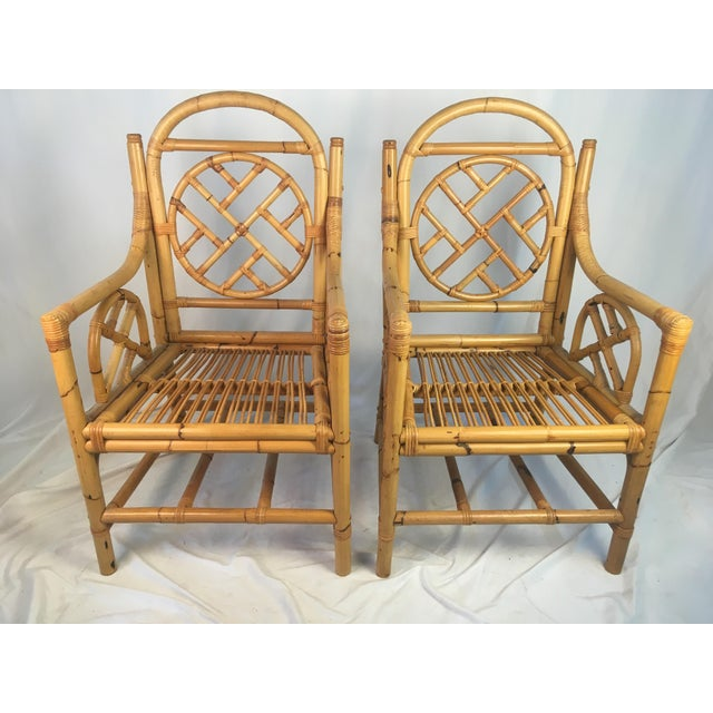 Vintage Chippendale Rattan Chairs - a Pair For Sale In Charleston - Image 6 of 9