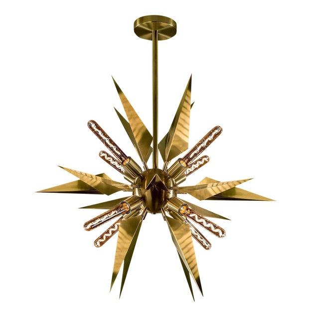 Brushed Brass Starburst Chandelier For Sale
