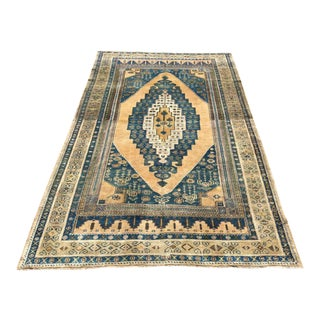 Vintage Hand Knotted Turkish Area Rug For Sale