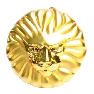Gilt Metal Lion Minaudiere Evening Bag. For Sale