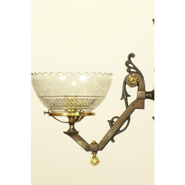 Traditional Two Light Gas Steel and Bronze Gasolier with Original Glass For Sale - Image 3 of 4