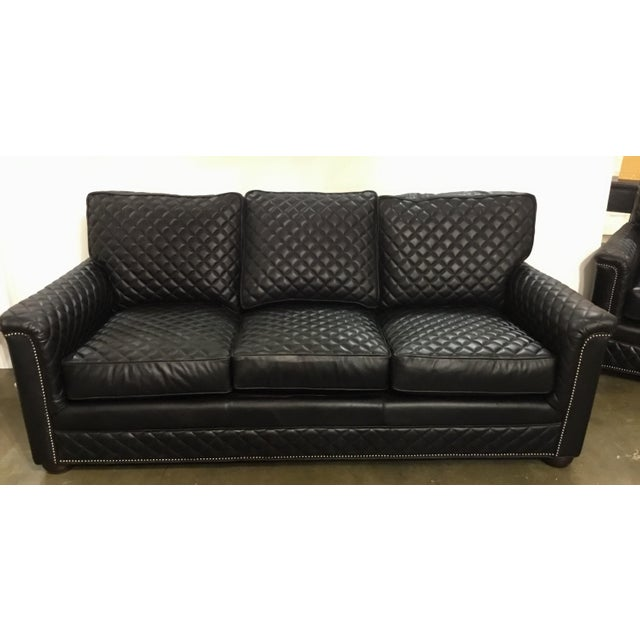 Stylish Drexel Heritage Modern Black Quilted Leather Sofa