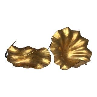 Antique Asian Gold Leaf Carved Wood Altar Lotus Leaves - a Pair For Sale