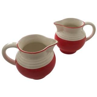 Ditmar Urbach Rare Vintage 1920's Art Deco Czechoslovakia Art Pottery Ceramic Pitchers - a Pair For Sale