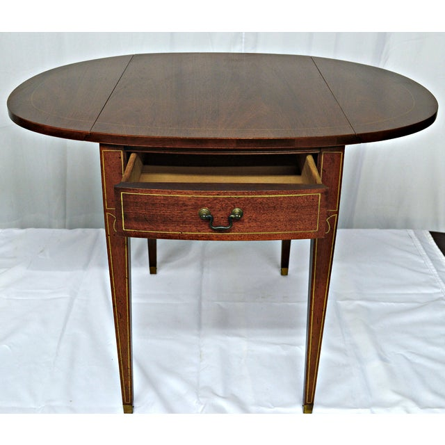 Hickory Chair Co. Oval Wood Side Table with Wings - Image 10 of 11