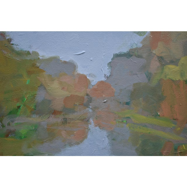 """Contemporary """"Overcast Autumn Day at the Pond"""" Contemporary Landscape Painting by Stephen Remick For Sale - Image 3 of 11"""