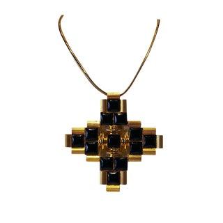 1970's Vintage Architectural Cross Statement Pendant Necklace For Sale