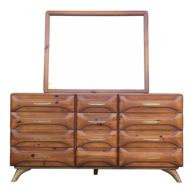 Franklin Shockey Mid-Century Sculptured Pine Dresser For Sale