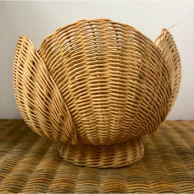 Chinese Floriform Structural Natural Woven Wicker Basket Bowl For Sale - Image 3 of 10