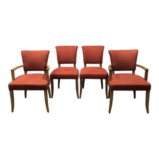 Restoration Hardware Adele Wood & Fabric Dining Chairs - Set of 4
