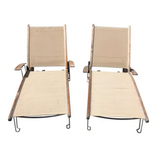 Modern Teak and Mesh Gloster Loungers- a Pair For Sale