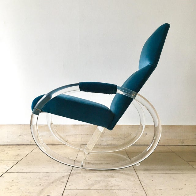 Mid-Century Modern Charles Hollis Jones Designed Lucite Rocking Chair 1970s For Sale - Image 3 of 8