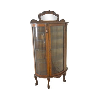 Antique Victorian Oak Bow Glass Curio China Cabinet For Sale