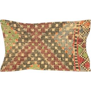 """Nalbandian - 1960s Turkish Jijim Lumbar Pillow - 12"""" X 23"""" For Sale"""