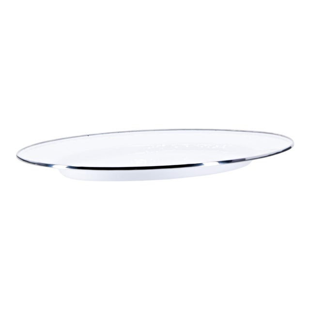 Oval Platter White on White For Sale