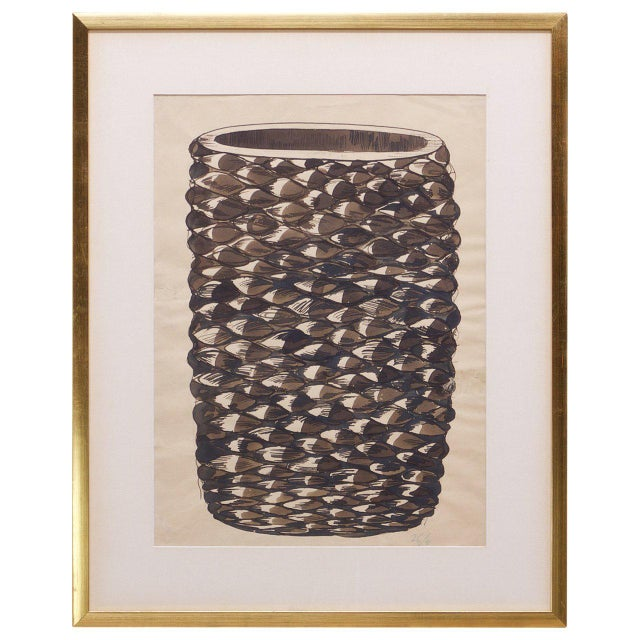 Axel Salto Monumental Axel Salto Large Budding Vase Watercolor on Paper Vintage, Midcentury For Sale - Image 4 of 4