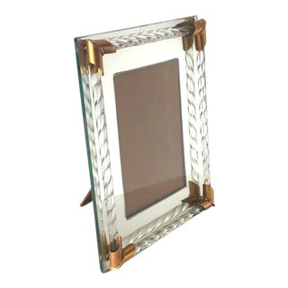 Art Deco Mirrored Picture Frame With Murano Glass Rope, 1940s For Sale