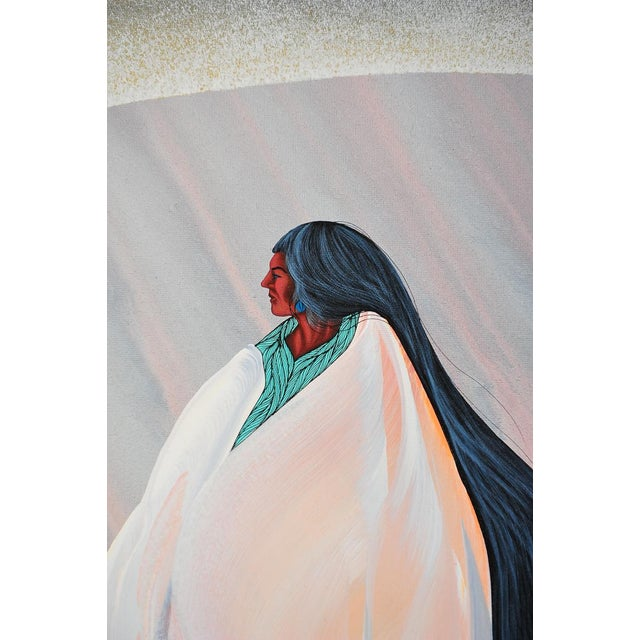 """Bill Rabbit """"Archway"""" Native American Oil Painting - Image 2 of 8"""