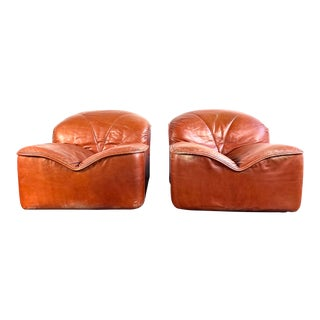 Vintage Guido Faleschini Leather Lounge Chairs - a Pair For Sale