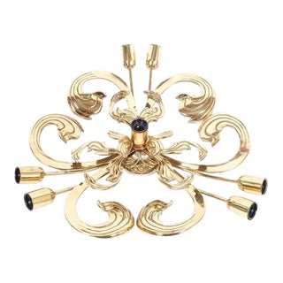 Ornamental Solid Brass Baroque Style Acanthus Leaf Flush Mount Lamp, 1960
