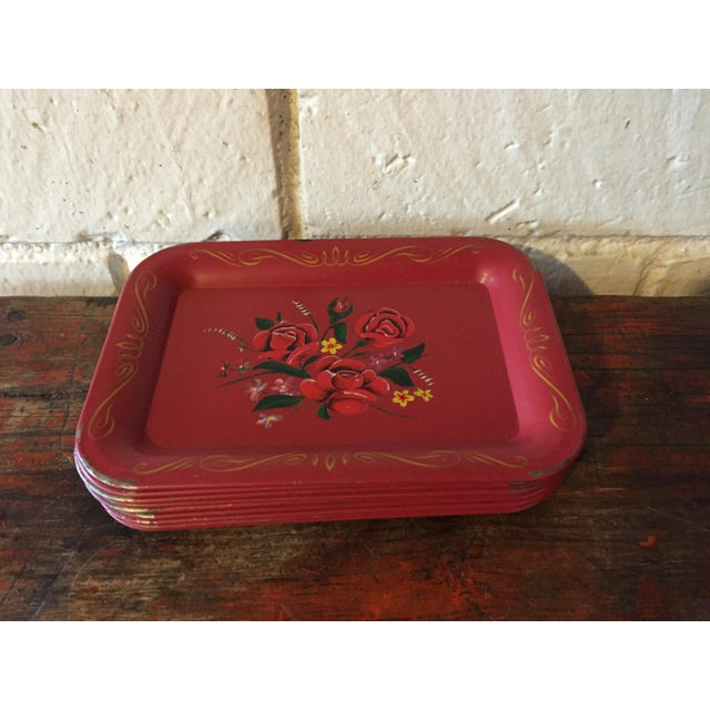 Red Rose Tole Trays - Set of 11 - Image 2 of 7