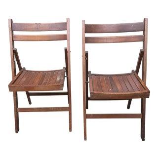 Slat Back Folding Oak Chairs - A Pair