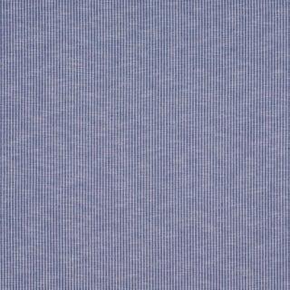 Schumacher Garter Stripe Indoor/Outdoor Fabric in Blue For Sale