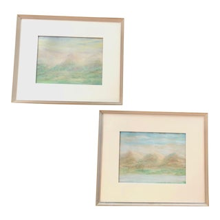 Contemporary Expressive Landscapes in Oil Pastel - A Pair For Sale