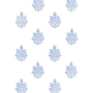 Sample - Schumacher Asara Flower Wallpaper in Delft For Sale