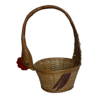 1980s Folk Style Rooster Basket For Sale