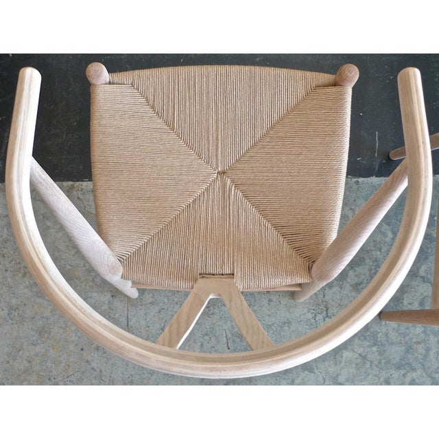 White Contemporary Danish 1960s Style Wishbone White Oak Riff Wood Arm Chairs - Set of 6 For Sale - Image 8 of 13
