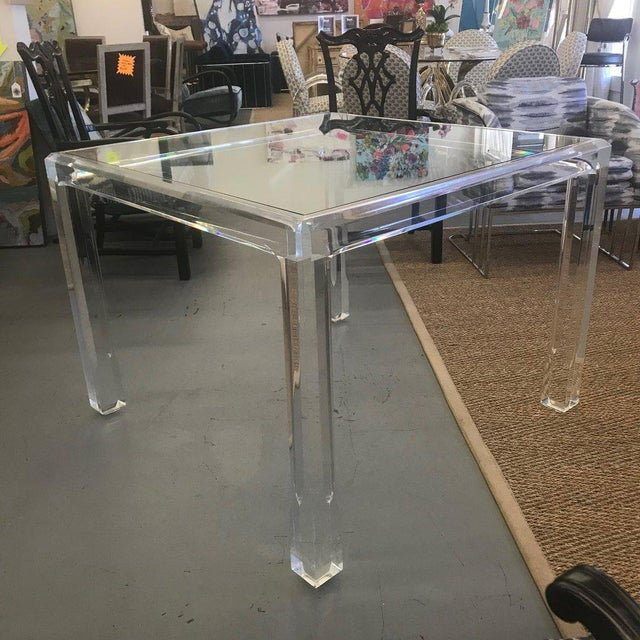 Hollywood Regency Vintage Mid Century Modern Lucite and Glass Dining Table For Sale - Image 3 of 10