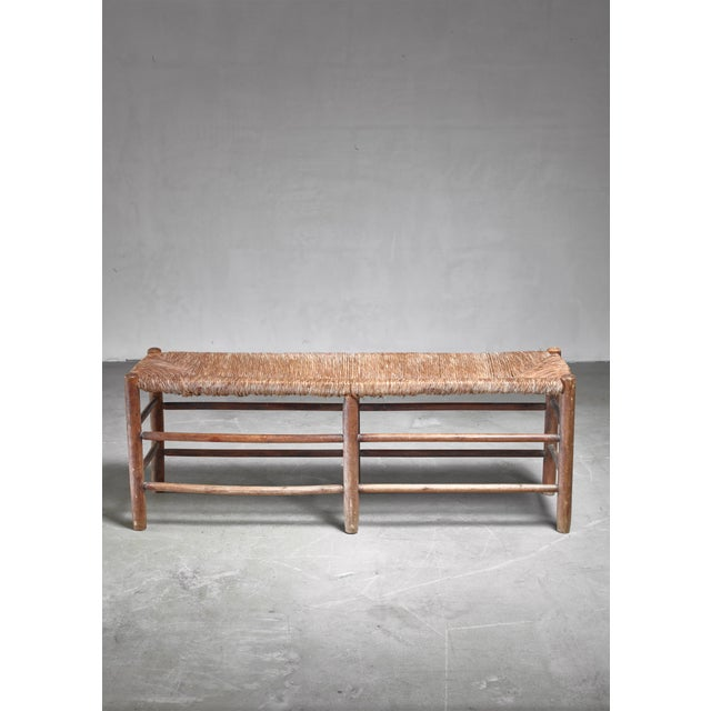 Mid-Century Modern Charlotte Perriand Wood and Rush Bench, France, 1960s For Sale - Image 3 of 4