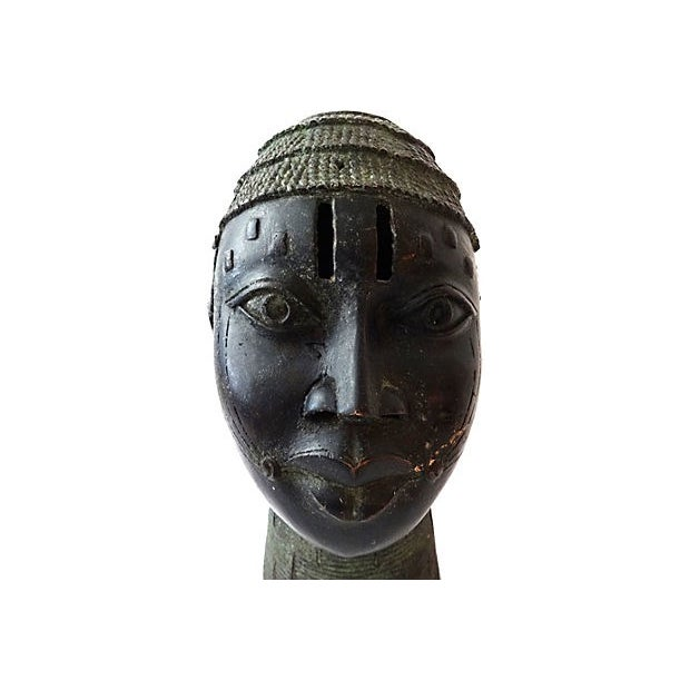 African Benin Bronze Head of King Oba For Sale - Image 5 of 6