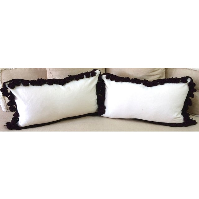 African Tassel Trimmed Wax Cloth Pillows - A Pair - Image 3 of 6