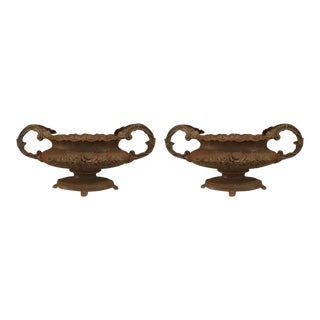 19th Century French Iron Planters - a Pair For Sale