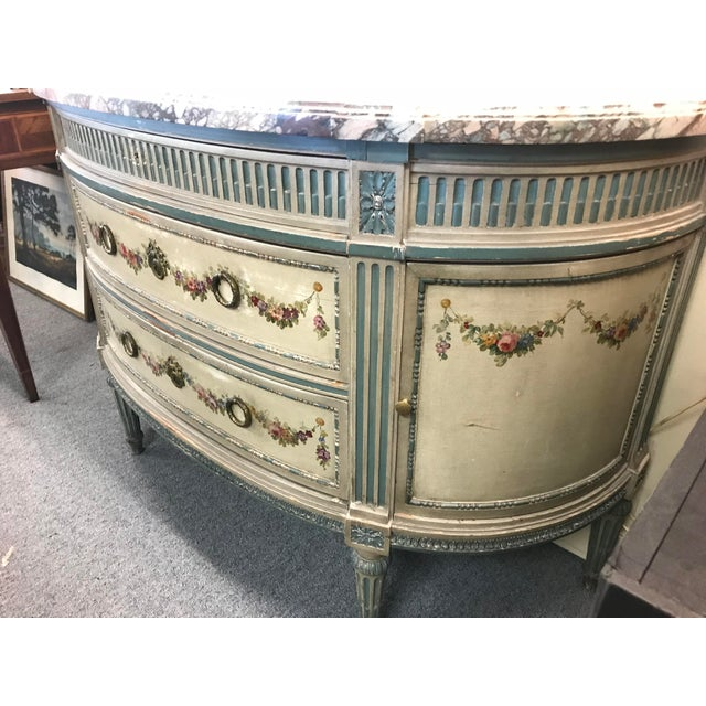 19th Century French Marble Top Demilune Chest For Sale In New York - Image 6 of 10