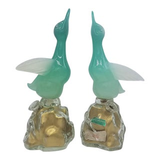 1960s Archimede Seguso Alabastro Murano Glass Bottles-a Pair For Sale