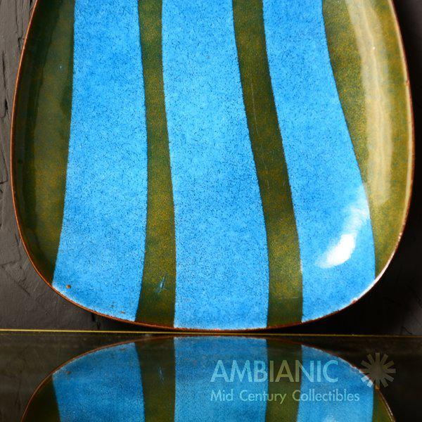 Blue Miguel Pineda Enamel on Copper Oval Dish For Sale - Image 8 of 9