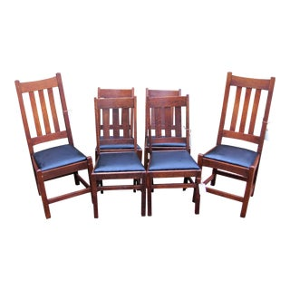 1900s Antique Arts & Crafts Side Chairs- Set of 6 For Sale