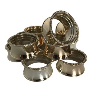 Silver Plated Double Bead Napkin Rings by Elegance - Set of 12 For Sale