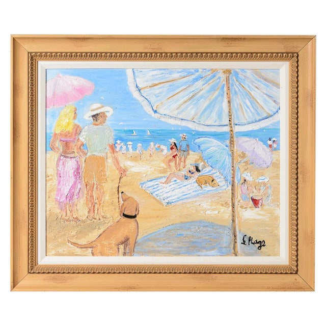 Oil on Canvas Umbrella Beach by Artist Jean Le Page For Sale