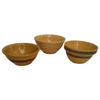 Striped Creamware Ceramic Bowls - Set of 3 For Sale