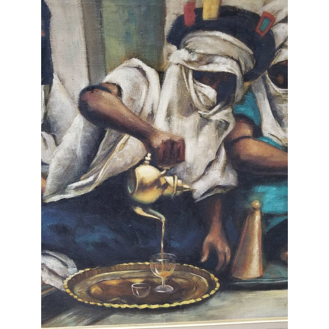 """Contemporary 1990s Jenine Tomao """"Coffee Drinkers"""" Oil on Canvas Painting For Sale - Image 3 of 12"""